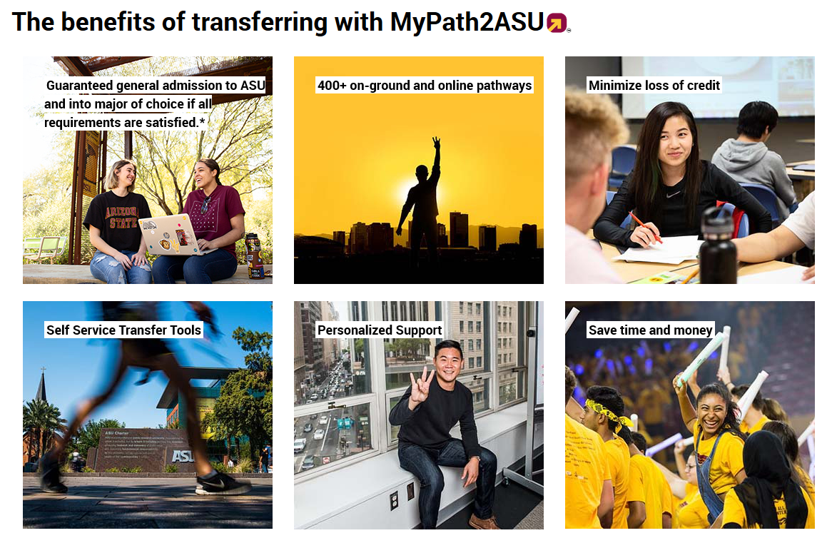 Benefits of transferring with MyPath2ASU